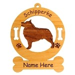 3874 Schipperke Standing #2 Ornament Personalized with Your Dog's Name